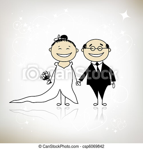 Wedding ceremony - bride and groom together for your design  - csp6069842