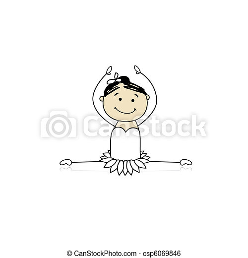 Cute little ballet dancer for your design - csp6069846