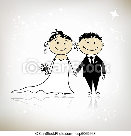 Wedding ceremony - bride and groom together for your design  - csp6069863