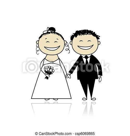 Wedding ceremony - bride and groom together for your design - csp6069865