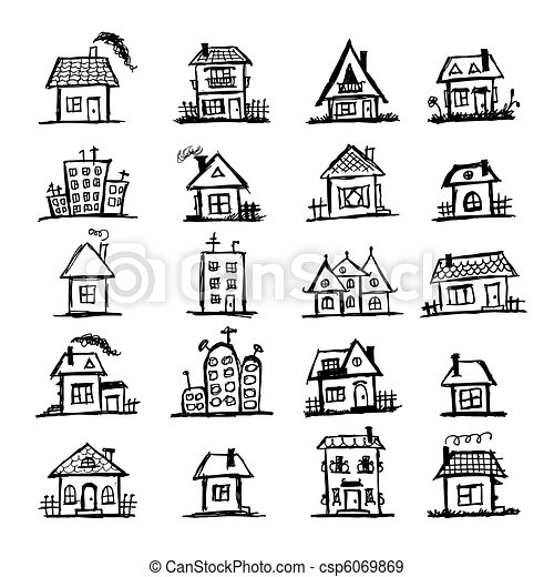Sketch of art houses for your design - csp6069869