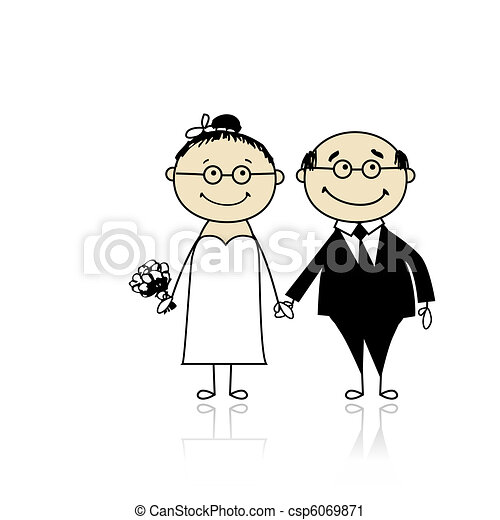 Wedding ceremony - bride and groom together for your design  - csp6069871