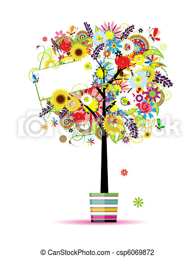 Beautiful summer tree in pot for your design  - csp6069872