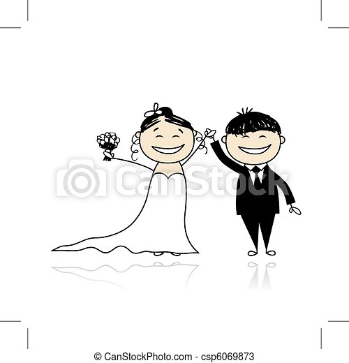 Wedding ceremony - bride and groom together for your design - csp6069873