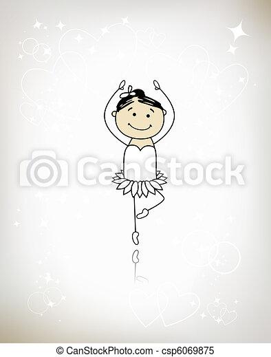 Cute little ballet dancer for your design - csp6069875