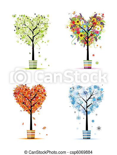 Four seasons - spring, summer, autumn, winter. Art trees in pots for your design - csp6069884