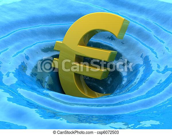 Euro sinks. Crisis 3d concept - csp6072503