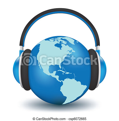 Earth with headphones - csp6072665