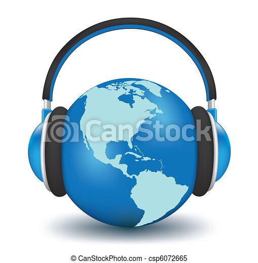 Earth with headphones - csp6072665