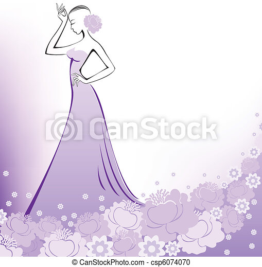 A woman in a lavender dress - csp6074070