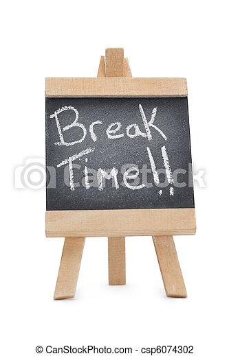 Chalkboard with the words break time written on it - csp6074302