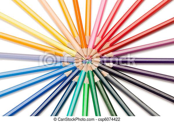 Top view of color pencils star - csp6074422