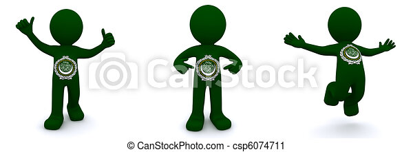 3d character textured with flag of League of Arab States - csp6074711