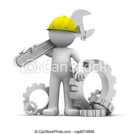 3D Industrial worker with wrench an - csp6074848
