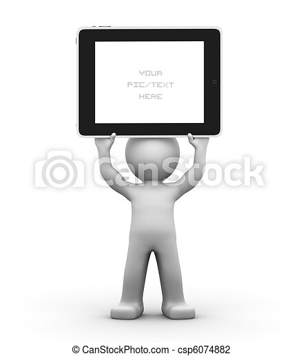 3D Character holding a blank tablet pc. Advertising concept. - csp6074882