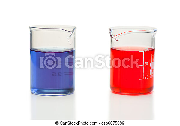 Red and blue liquid in beakers - csp6075089