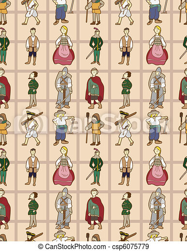 seamless Middle Ages people pattern - csp6075779