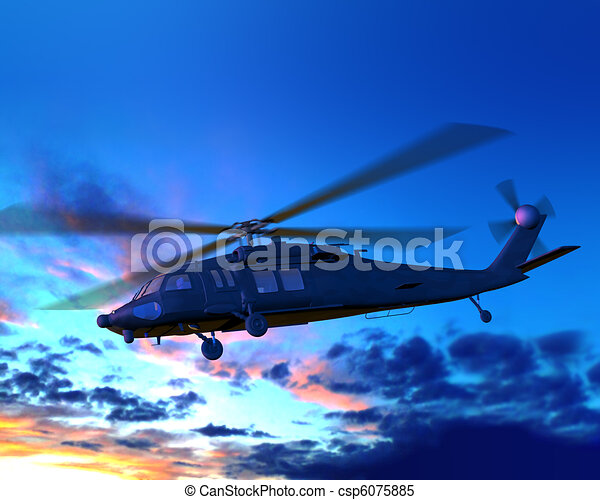 Helicopter flying in night - csp6075885