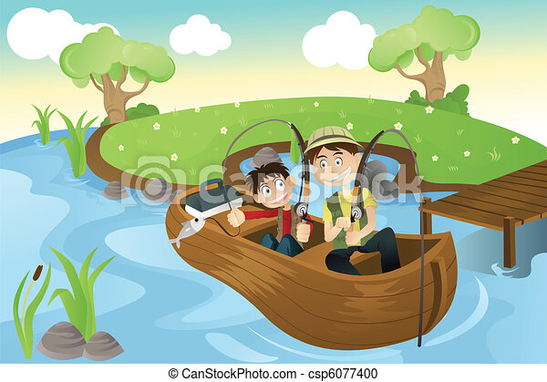 Father and son going fishing - csp6077400