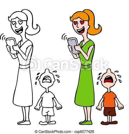 mujer, en, amor, texting, Ignorar, llanto, niño - csp6077428