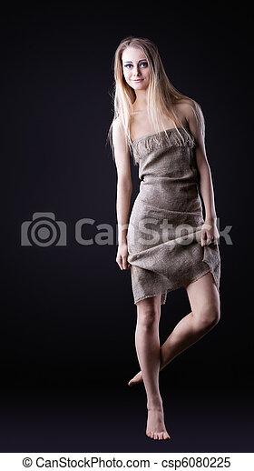 Beauty Girl walk in rag - csp6080225