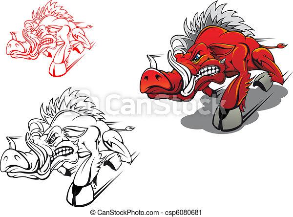 Wild running boar - csp6080681
