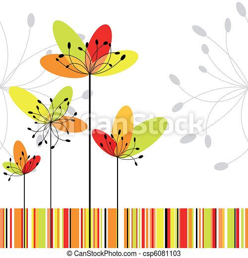 primavera, Extracto, flor, colorido, raya, Plano de fondo - csp6081103