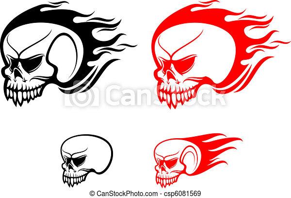 Danger skulls with flames - csp6081569