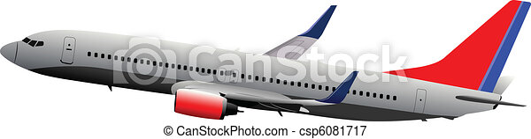 Passenger plane in air. Vector ill - csp6081717