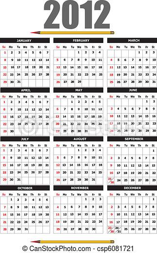 2012 calendar with flower image. V - csp6081721