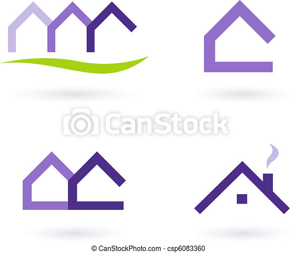Real Estate Logo And Icons Vector - Purple and Green  - csp6083360