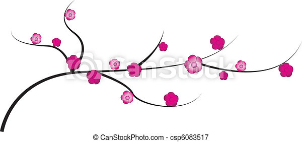 Cherry twig with flowers - csp6083517