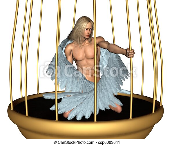 Captive Male Angel in Gold Cage - csp6083641
