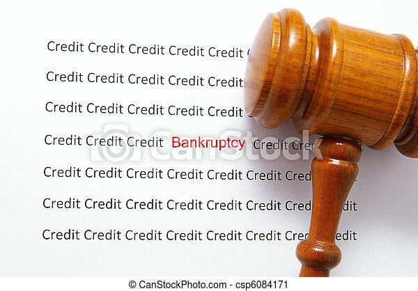 bad credit text( bankruptcy ) and legal gavel - csp6084171