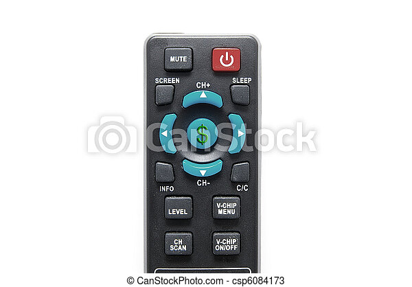 remote control on white with dollar sign - csp6084173