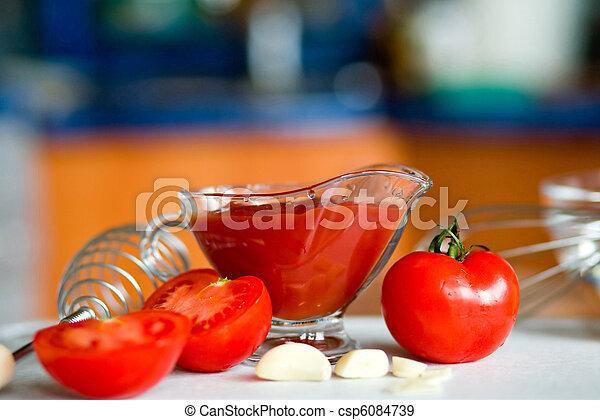 Preparing tomato poignant sauce - csp6084739