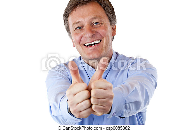 attractive pensioner shows both thumbs up and smiles happy - csp6085362
