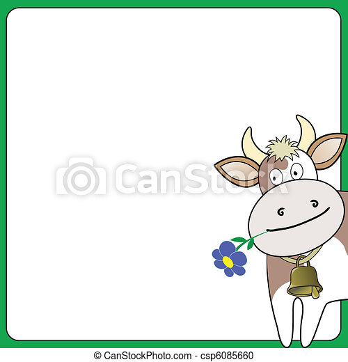 cow on a white square - csp6085660