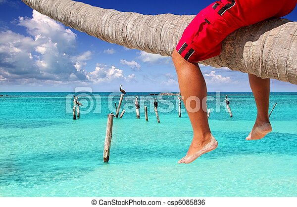 Caribbean inclined palm tree beach tourist legs - csp6085836