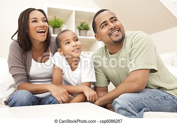 Happy Smiling African American Family At Home - csp6086287