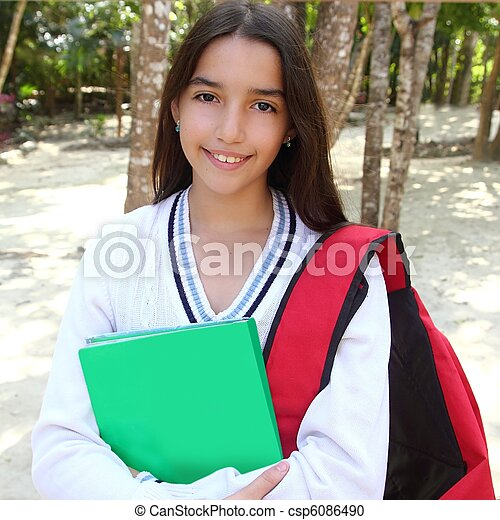 hispanic latin teenager girl backpack in Mexico park - csp6086490