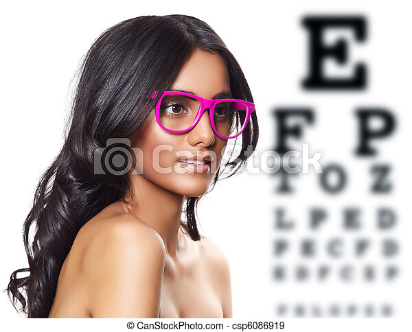 pink glasses on beautiful tanned woman. - csp6086919