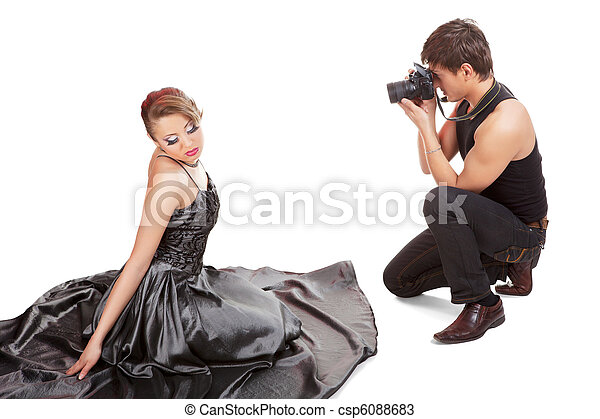 Young adult female model and photographer. - csp6088683
