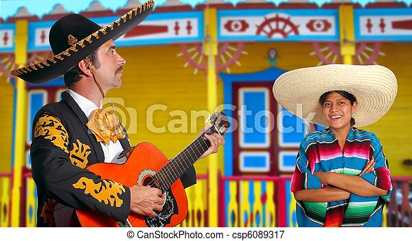 mexicano,  Mariachi,  charro, hombre, y,  poncho,  México, niña - csp6089317