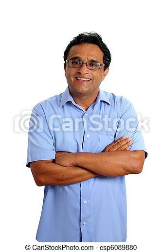 indian latin businessman glasses blue shirt on white - csp6089880