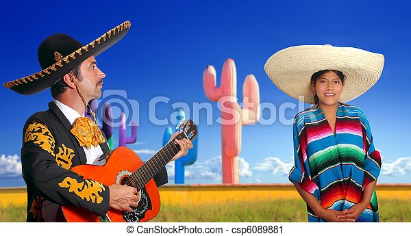 mariachi charro playing guitar mexican poncho girl - csp6089881