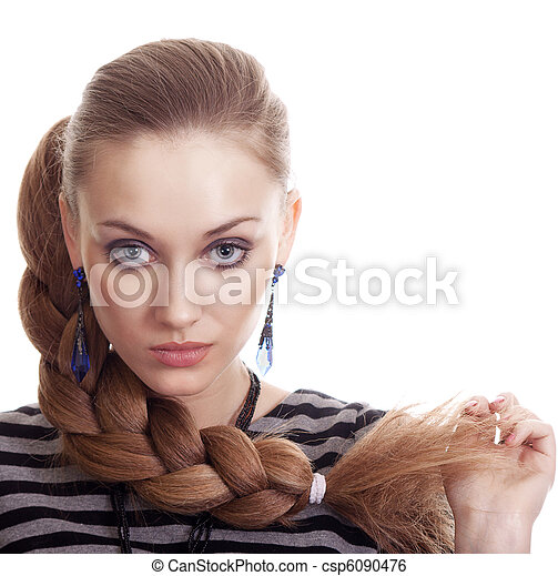 Beautiful Fashion Woman With Beautiful Braid Hair Isolated - csp6090476