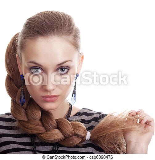 Beautiful Fashion Woman With Beautiful Braid Hair Isolated  - csp6090476