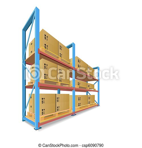 Storage racks with boxes. - csp6090790