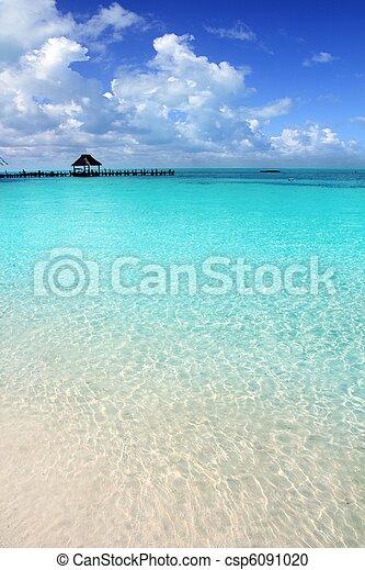 karabischer strand, tropische , contoy insel, pier, kabine - csp6091020